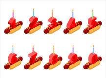 Bougies de nombres de hot-dog et d'anniversaire Photo stock