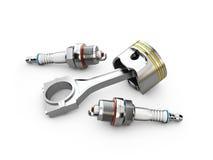 bougies de piston et d'allumage de moteur, blanc d'isolement, illustration 3d illustration stock
