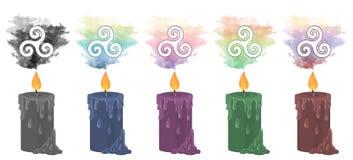 Bougies en spirale triples de symbole illustration de vecteur