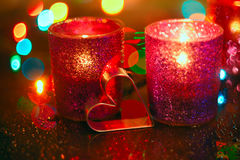 Bougies et coeur Image stock