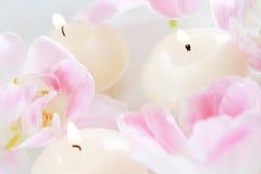 Bougies et fleurs Photographie stock libre de droits