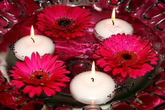 Bougies et fleurs dans l'eau Image stock