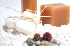 Bougies et savon de zen de STATION THERMALE Photos stock