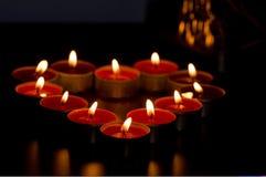 Bougies formant le coeur Photos libres de droits