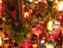 Bougies pour Kaczynski Photo stock