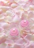 Bougies roses Photographie stock libre de droits