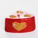 Bougies rouges découpées d'isolement sur le fond blanc Cadeau c de souvenir Photographie stock libre de droits