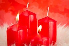 Bougies rouges d'arrivée Image stock