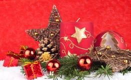 Bougies rouges de Noël Photo stock
