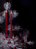 Bougies rouges de Noël Image stock