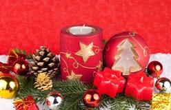 Bougies rouges - fond de Noël Photos stock