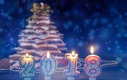 Bougies sous forme de 2018 nouvelles années près du pain d'épice fait maison C Photographie stock libre de droits