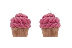 Bougies sous la forme de gâteau de tasse Photos libres de droits