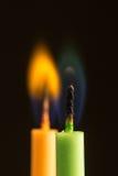 Bougies sur un fond noir Images libres de droits