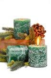 Bougies vertes de Noël Photos libres de droits