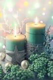 Bougies vertes de Noël Photo libre de droits