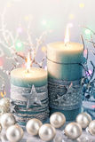 Bougies vertes de Noël Photographie stock