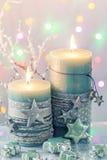 Bougies vertes de Noël Photographie stock libre de droits