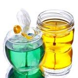 Bougies vertes et jaunes de gel Photos stock