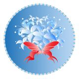 Bouguet with bow. A scatting of wlovers with ribbon and butterfly the on a blue background Stock Photography