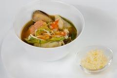 Bouillabaisse della minestra del pesce del francese con formaggio grattugiato fotografia stock