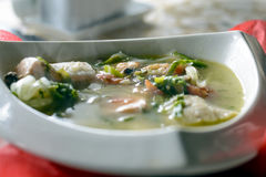 Bouillabaisse fish soup with seafood, salmon fillet, shrimp, rich taste, tasty dinner stock photography