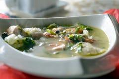 Bouillabaisse rybia polewka z owoce morza, łosoś polędwicowy, krewetkowy, bogaty smak, smakowity gość restauracji fotografia stock