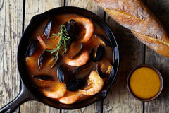 Bouillabaisse seafood fish soup with prawns, mussels tomato, lobster. Traditional Marseille France dish. Stock Images