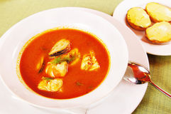 Bouillabaisse - soup with seafoods Royalty Free Stock Images