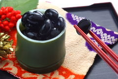 Bouilli et assaisonné du soja noir Images stock