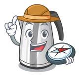 Bouilloire électrique de cuisine d'explorateur sur une mascotte illustration stock