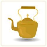 Bouilloire de thé de Brown sur un fond blanc Photographie stock libre de droits