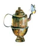 Bouilloire de vintage d'aquarelle Photographie stock libre de droits