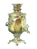 Bouilloire de vintage d'aquarelle (samovar) Photo libre de droits