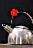 Bouilloire et fleur Images stock