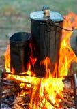 Bouilloires au-dessus de feu de camp Images libres de droits