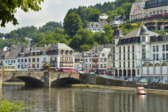 Bouillon. Belgium - July 2013 - View on the Semois river and city of Stock Photo