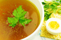 Bouillon, broth, clear soup Stock Images