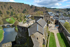 Bouillon castle. View on Bouillon with his castle and the river Meuse Royalty Free Stock Photos
