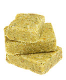 Bouillon cube. Spice closeup on white background Royalty Free Stock Images