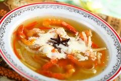 Bouillon de poissons avec des légumes photo stock