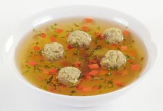Bouillon with meat dumplings Royalty Free Stock Photography
