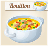 Bouillon with meat and vegetables. Detailed Vector Icon Stock Photography