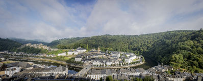 Bouillon Panorama. Panoramic view of the town of Bouillon in Belgium on a sunny morning Royalty Free Stock Photography