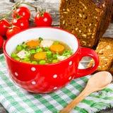 Bouillon z warzywami, kurczakiem, koperem i pietruszką, Zdjęcie Royalty Free
