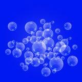 Bouillonne la texture sous-marine d'isolement sur le fond bleu Étincelles pétillantes dans l'eau, mer, océan Illustration sous-ma illustration libre de droits