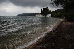 Boukaris beach under the storm, Corfu Royalty Free Stock Photography