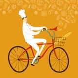 Boulanger en chef de bande dessinée avec la baguette sur la bicyclette Photographie stock libre de droits