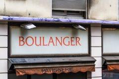 Boulanger sign. Sign for boulanger, old baker shop in Paris, France, Europe Royalty Free Stock Photo