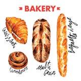 Boulangerie dans l'ensemble d'illustration de vecteur d'aquarelle Image libre de droits